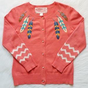 Nick & Mo Coral Feather Embroidered Cardigan | S